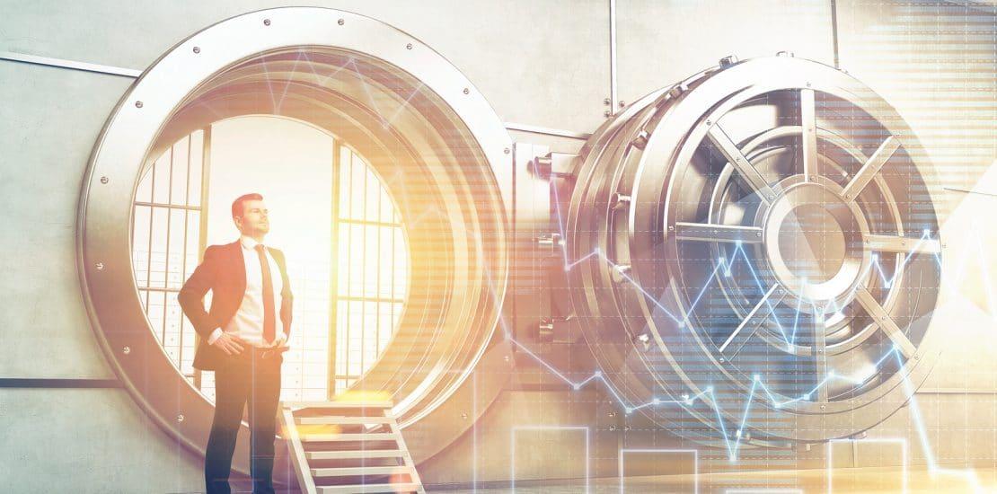 Confident businessman is standing near wide open vault door. Concept of money saving. 3d rendering. Toned image. Double exposure